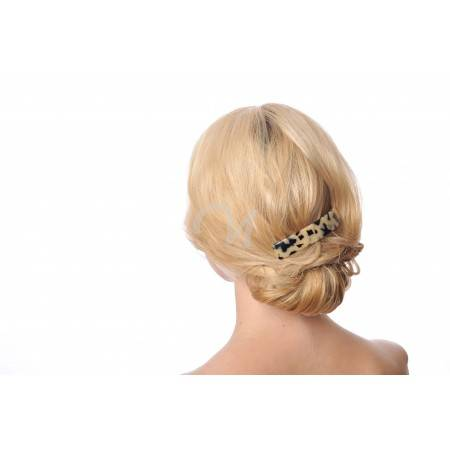 hand made hair barrette wearing model